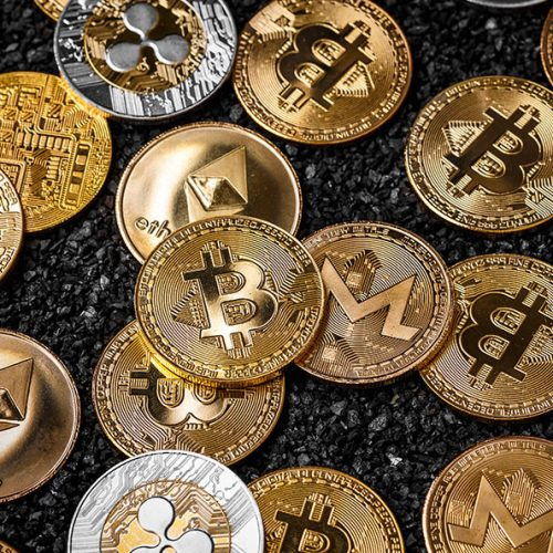 Stack of cryptocurrencies. Bitcoin and most important cryptocurrency concept